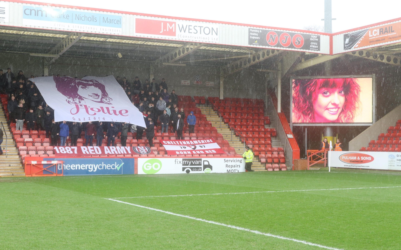 Hollie Gazzard Flag at Cheltenham Town FC
